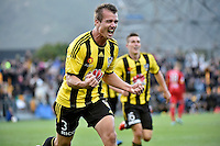 Joel Griffiths in action during the A League - Wellington Phoenix v Adelaide United at Hutt Recreational Ground, Lower Hutt, New Zealand on Saturday 7 March 2015. <br /> Photo by Masanori Udagawa. <br /> www.photowellington.photoshelter.com.