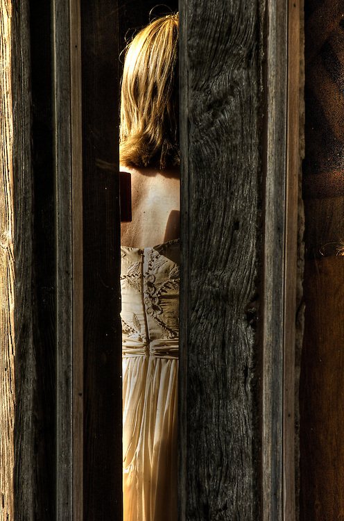 Bride wearing wedding dress seen through the timbers of an old barn