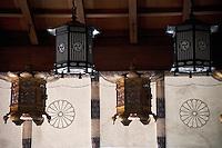 Lanterns at the Tenkawa Benten Shrine, Nara Prefecture, Japan.