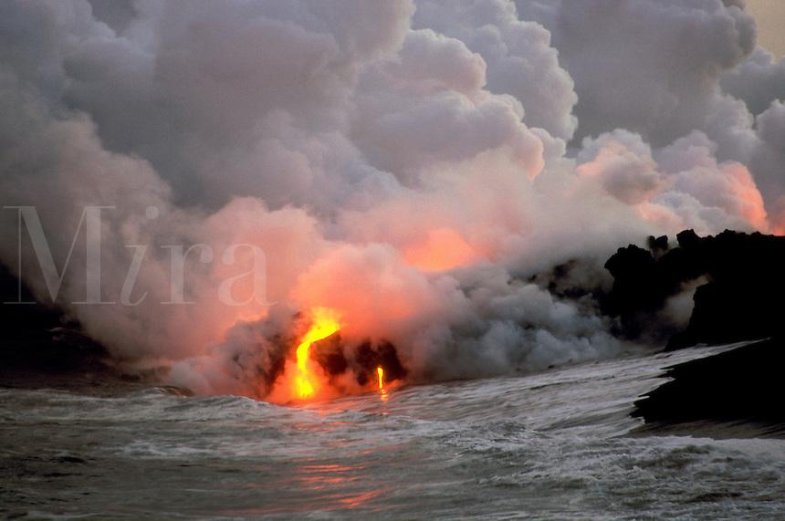 Lava from Kilauea flowing into the sea, Big Island, Hawaii