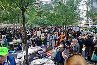 Protester rally inside Zuccotti Park during the Occupy Wall Street Protest in New York City October 6, 2011.