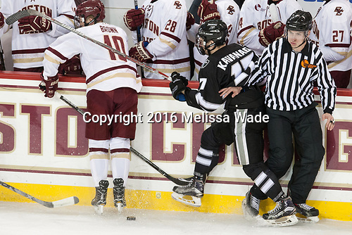 Christopher Brown (BC - 10), Shane Kavanagh (PC - 17), Dmitry Antipin - The Boston College Eagles defeated the visiting Providence College Friars 3-1 on Friday, October 28, 2016, at Kelley Rink in Conte Forum in Chestnut Hill, Massachusetts.The Boston College Eagles defeated the visiting Providence College Friars 3-1 on Friday, October 28, 2016, at Kelley Rink in Conte Forum in Chestnut Hill, Massachusetts.