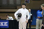 11 February 2017: Duke's Bryn Hammarberg during a break in his Epee match. The Duke University Blue Devils hosted the Massachusetts Institute of Technology Engineers at Card Gym in Durham, North Carolina in a 2017 College Men's Fencing match. Duke won the dual match 19-8 overall, 7-2 Foil, 6-3 Epee, and 6-3 Saber.