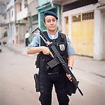 Patrol officer Luciana Montanari, 32.<br /> Rapid Response Team<br /> Pacifying Police Unit<br /> Complexo do Caju, Rio de Janeiro, Brazil