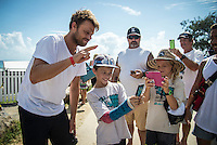 Snapper Rocks, COOLANGATTA, Queensland/Australia (Wednesday, March 11, 2015) Dane Reynolds (USA) with some fans after his loss. - Competition at the Quiksilver Pro Gold Coast recommenced today after 11 consecutive lay days and ran through Round 2 at Snapper Rocks. The world&rsquo;s best surfers battled through tough conditions to avoid elimination and earn a place in Round 3. Top seeds Mick Fanning (AUS) and Kelly Slater (USA) both advanced but there were some upsets in the Round.<br />  <br /> -  Photo: joliphotos.com