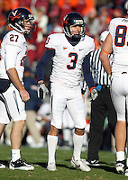 Nov 27, 2010; Charlottesville, VA, USA;  Virginia Cavaliers kicker Robert Randolph (3) during the game at Lane Stadium. Virginia Tech won 37-7. Mandatory Credit: Andrew Shurtleff-
