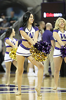 Dec 28, 2014:  Washington cheerleader Monica Nash entertained fans during the game against Stony Brook.  Stony Brook defeated Washington 62-57 at Alaska Airlines Arena in Seattle, WA.