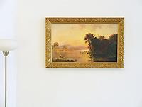 Jasper Francis Cropsey : &quot;Fisherman in Autumn Landscape&quot; Image Dims.<br /> 18.8&quot; x 32&quot; Framed Dims.<br /> 24&quot; x 36.75&quot; Jasper Francis Cropsey (1823-1900) was an important American landscape artist of the Hudson River School