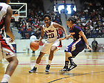 Ole MIss' Amber Singletary (20) vs. Northwestern State's Janelle Perez (13) in women's college basketball action in Oxford, Miss. on Friday, November 16, 2012.