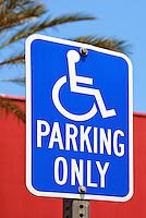 Handicap Parking Sign, Blue, White Letters, Reflective