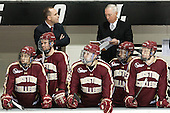 Johnny Gaudreau (BC - 13), Brooks Dyroff (BC - 14), Mike Cavanaugh (BC - Associate Head Coach), Cam Spiro (BC - 15), Jerry York (BC - Head Coach), Danny Linell (BC - 10), Patrick Brown (BC - 23) - The Providence College Friars tied the visiting Boston College Eagles 3-3 on Friday, December 7, 2012, at Schneider Arena in Providence, Rhode Island.