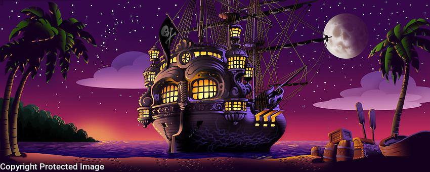Captain Hook's ship anchored in the bay. For Kenmark Scenic Backdrops, Inc.