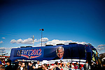 GOP presidential candidate Newt Gingrich's bus waits for his departure outside a campaign event at Great Basin Brewing Company in Reno, Nevada, February 1, 2012.