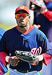 6 March 2010: Washington Nationals' utilityman Willie Harris in action during a Spring Training game against the New York Mets at Space Coast Stadium in Viera, Florida. The Mets defeated the Nationals 14-6 in Grapefruit League action. Mandatory Credit: Ed Wolfstein Photo