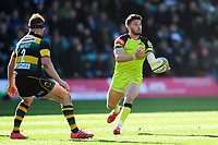 Owen Williams of Leicester Tigers passes the ball. Aviva Premiership match, between Northampton Saints and Leicester Tigers on March 25, 2017 at Franklin's Gardens in Northampton, England. Photo by: Patrick Khachfe / JMP