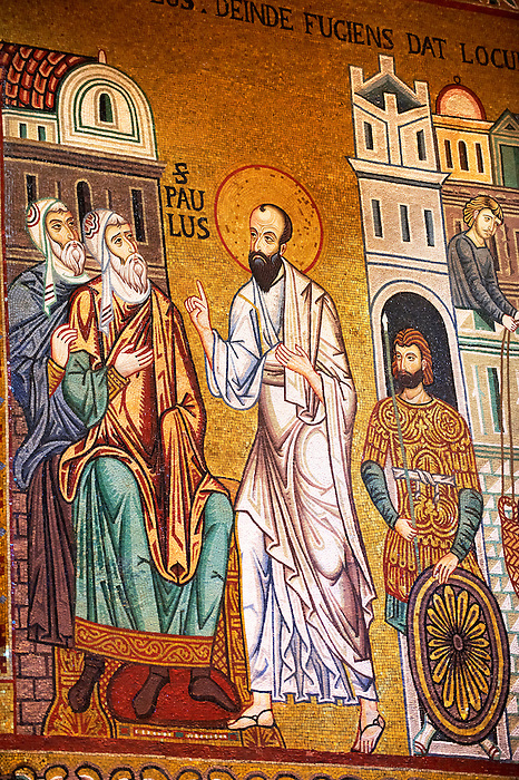 Byzantine mosaics at the Palatine Chapel ( Capella Palatina ) Norman Palace Palermo, Sicily, Italy. St Paul.
