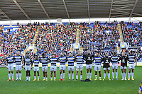 The Bath Rugby team line up prior to the match. Aviva Premiership match, between London Irish and Bath Rugby on November 7, 2015 at the Madejski Stadium in Reading, England. Photo by: Patrick Khachfe / Onside Images