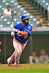 13 September 2008: Kansas City Royals' infielder Alberto Callaspo hits an RBI single against the Cleveland Indians at Progressive Field in Cleveland, Ohio. The Royals defeated the Indians 8-3 in the first game of their rain delayed double-header...Mandatory Photo Credit: Ed Wolfstein Photo
