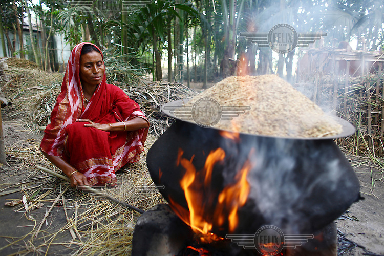 38 year old Airun Nesa cooks outside her home. She was able to buy livestock with microfinance credit from the IFAD (International Fund for Agricultural Development) project in Jalsora, Srimangal.