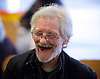 Crisis at Christmas, London, Great Britain <br /> 23rd December 2016 <br /> <br /> a Guest shares a joke with a volunteer <br /> <br /> First day of operations at one of the Crisis centres in London.<br /> <br /> Crisis at Christmas is a lifeline for thousands of homeless people across the UK, offering support, companionship and vital services over the festive period.<br />  <br /> Crisis at Christmas provides immediate help for homeless people at a critical time - one in four homeless people spends Christmas alone - but our work does not end there. We encourage guests to take up the life-changing opportunities on offer all year round at our centres across the country. <br />  <br /> Crisis is the national charity for homeless people.<br /> <br /> Crisis reveals scale of violence and abuse against rough sleepers as charity opens its doors for Christmas<br /> <br /> People sleeping on the street are almost 17 times more likely to have been victims of violence and 15 times more likely to have suffered verbal abuse in the past year compared to the general public, according to new research from Crisis, the national charity for homeless people.<br />  <br /> <br /> Photograph by Elliott Franks <br /> Image licensed to Elliott Franks Photography Services