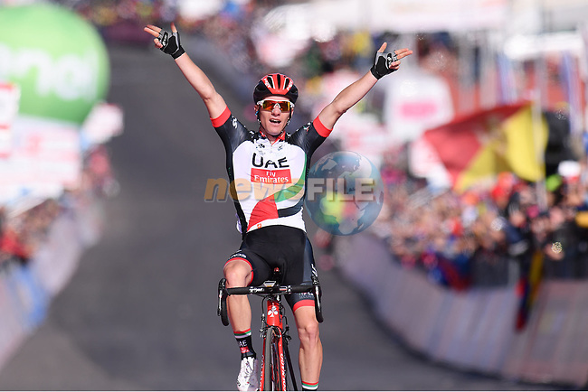 Jan Polanc (SLO) UAE Team Emirates crosses the finish line on the slopes of Mount Etna to win Stage 4 of the 100th edition of the Giro d'Italia 2017, running 181km from Cefalu to Mount Etna, Sicily, Italy. 9th May 2017.<br /> Picture: LaPresse/Gian Mattia D'Alberto | Cyclefile<br /> <br /> <br /> All photos usage must carry mandatory copyright credit (&copy; Cyclefile | LaPresse/Gian Mattia D'Alberto)