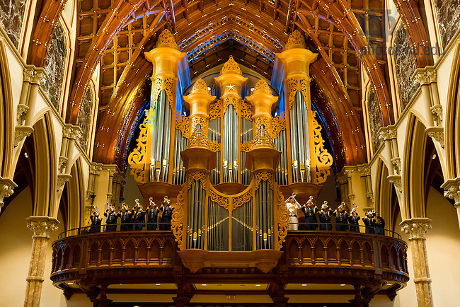 Oct. 6, 2012; Notre Dame Marching Band trumpets play the Alma Mater after the Votive Mass of the Blessed Virgin Mary at Holy Name Cathedral in Chicago before the Shamrock Series game. Photo by Barbara Johnston/University of Notre Dame..