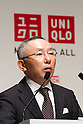 August 25, 2011, Tokyo, Japan - Tadashi Yanai, chief executive officer of Japan's Fast Retailing Co., projects global sales for the revolutionary Heattech innerwear during a news conference in Tokyo on Thursday, August 25, 2011. Clothing store chain UNIQLO, a core unit of Fast Retailing, said it is aiming for a 25% growth in sales globally for its Heattech line of thermal underwear this winter. Uniqlo and Toray Industries Inc., the nation's biggest synthetic fiber maker, have formed a strategic partnership under which they will jointly develop new products and materials. The Heattech line is one successful example of both company's collaboration. Since UNIQLO started marketing Heattech products, cumulative sales to date totaled 199 million. (Photo by AFLO) [3609] -mis-