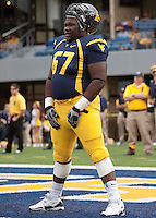 September 4, 2010: WVU offensive lineman Quinton Spain. The West Virginia Mountaineers defeated the Coastal Carolina Chanticleers 31-0 on September 4, 2010 at Mountaineer Field, Morgantown, West Virginia.