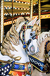 One of the hand carved wood horses on the carousel in Missoula, Montana