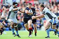 Alex Goode of Saracens takes on the Glasgow Warriors defence. European Rugby Champions Cup Quarter Final, between Saracens and Glasgow Warriors on April 2, 2017 at Allianz Park in London, England. Photo by: Patrick Khachfe / JMP