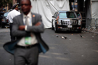 United States President Barack Obama's motorcade waits to leave after he spoke at the U.S.-Africa Business Forum at the Plaza Hotel, September 21, 2016 in New York City. The forum is focused on trade and investment opportunities on the African continent for African heads of government and American business leaders. <br /> Credit: Drew Angerer / Pool via CNP /MediaPunch