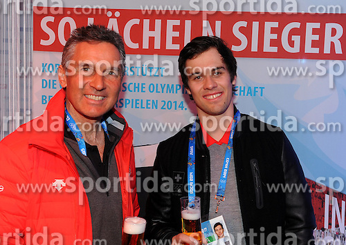 14.02.2014, Austria Tirol House, Krasnaya Polyana, RUS, Sochi, 2014, im Bild SANDRO VILETTA, WALTER HUBMANN // SANDRO VILETTA, WALTER HUBMANN during the Olympic Winter Games Sochi 2014 at the Austria Tirol House in Krasnaya Polyana, Russia on 2014/02/14. EXPA Pictures © 2014, PhotoCredit: EXPA/ Erich Spiess