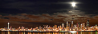 Seattle skyline, Space Needle and full moon reflecting in Elliot Bay viewed from West Seattle, Seattle, Washington, USA