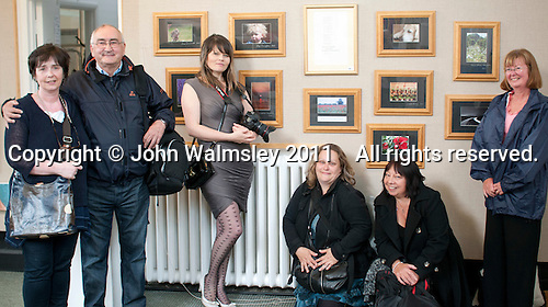 Photography students, opening of an exhibition of students' work, Harvey Gallery, Adult Learning Centre, Guildford, Surrey.