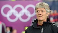 Glasgow, Scotland - Saturday, July 28, 2012:  Head coach Pia Sundhage of the USA Women's soccer team 3-0 over Colombia in the first round of the Olympic football tournament at Hamden Park.