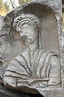 Sculpted bust of an unidentified man, badly damaged, in a niche in the ruins of the Homeric city of Troy, Hill of Hissarlik, Turkey. Troy was a city, both factual and legendary, in northwest Anatolia and was the setting of the Trojan Wars described in Homer's Iliad. Picture by Manuel Cohen