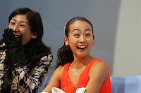 November 18, 2005; Paris, France;(R) Figure skating star MAO ASADA of Japan celebrates her winning score in ladies short program with (L) coach Mihoko Higuchi.  Asada went onto win gold in ladies figure skating at Trophee Eric Bompard, ISU Paris Grand Prix competition.  Asada is just 15 years old and not eligible for the Torino 2006 Olympics, yet still a bright hope in Japanese figure skating for championships.<br />