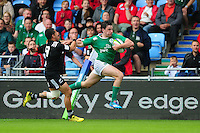 Hugo Keenan of Ireland U20 goes on the attack. World Rugby U20 Championship match between New Zealand U20 and Ireland U20 on June 11, 2016 at the Manchester City Academy Stadium in Manchester, England. Photo by: Patrick Khachfe / Onside Images