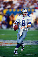 TEMPE, AZ - Quarterback Troy Aikman of the Dallas Cowboys in action during Super Bowl XXX against the Pittsburgh Steelers at Sun Devil Stadium in Tempe, Arizona on January 28 1996. Photo by Brad Mangin