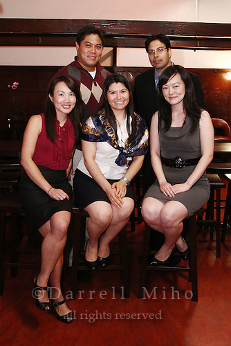 Sep. 08, 2010; Los Angeles, CA - KIND: Kids In Need of Defense panel discussion and mixer at the Far Bar in Little Tokyo. ..photo credit: Darrell Miho..(L to R).front row:.Moderator: Julie To, Staff Attorney, CA Dept of Real Estate.Panelists:.Gladis Molina, KIND Pro Bono Attorney Coordinator - Los Angeles.Stacey Wang, Associate, Holland & Knight LLP.Back row:.Jason Pu, Solo Practitioner and Founder of jd8Records .Shiraz Tangri, Partner, Alston + Bird LLP.