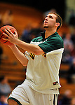 29 January 2012: University of Vermont Catamount forward Brian Voelkel, a Sophomore from Pleasantville, NY, warms up prior to facing the University of New Hampshire Wildcats at Patrick Gymnasium in Burlington, Vermont. The Catamounts defeated the Wildcats 77-60 in America East play. Mandatory Credit: Ed Wolfstein Photo