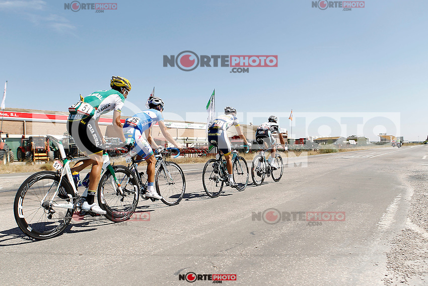 (R to L) Frantisek Rabon, Bertjan Lindeman, Pablo Lechuga and Javier Aramendia during the stage of La Vuelta 2012 between Huesca and Motorland Aragon (Alcaniz).August 24,2012. (ALTERPHOTOS/Acero) /NortePhoto.com<br />