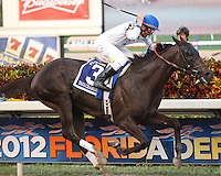 Take Charge Indy with Calvin Borel up wins the Florida Derby (G1) Gulfstream Park Hallandale Beach Florida. 03-31-2012. Arron Haggart/Eclipse Sportswire