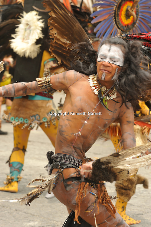 Greatest Aztecs, MM7677,  Mexico City, Mexico, Aztec dances in the Zocalo on the day the Aztecs founded their new city in the Valley of Mexico, Centro Historico, Cathedral, Eagle Warrior, Dancers, costumes