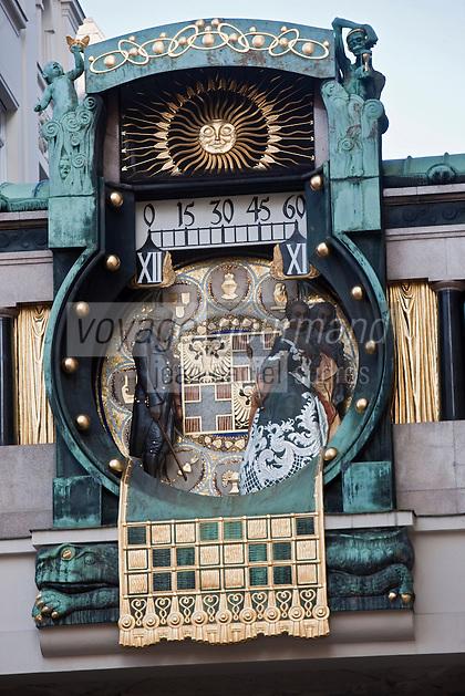 Europe/Autriche/Niederösterreich/Vienne:l'Ankeruhr -  Horloge  sécessionniste de Hoher Markt - Art Nouveau
