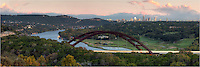 This picture of Pennybacker Brdige, also known as the 360 Bridge, is two images stitched togehter. Taken in early November, some of the trees are slightly turning colors. In the distance, you can see downtown Austin and its distinctive skyline.