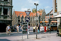 Braunschweig: Looking past the Linen Hall to the Altstadtrathaus  (old Town Hall) and Altstadtmarkt. Photo '87.
