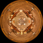 360-degree &quot;little planet&quot; panorama of the lower crypt church in the Basilica of the National Shrine of the Immaculate Conception in Washington, DC.  Built on land donated by the Catholic University of America, the Basilica of the National Shrine of the Immaculate Conception is North America's largest Roman Catholic church and 10th largest church in the world.