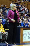 17 February 2013: Wake Forest head coach Jen Hoover coaches barefoot for the game for Samaritan's Feet charity. The Duke University Blue Devils played the Wake Forest University Demon Deacons at Cameron Indoor Stadium in Durham, North Carolina in a 2012-2013 NCAA Division I and Atlantic Coast Conference women's college basketball game. Duke won 81-70.