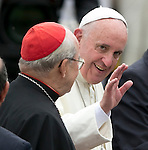 Pope Francis with Cuba's Cardinal Jaime Ortega at the Jose Marti International Airport as he is greeted by Cuban President Raul Castro in Havana, Cuba on Saturday, September 19, 2015.